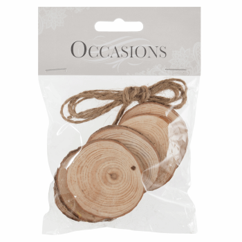 Wooden Slices: Hanging: Round: Small: 6 Pieces