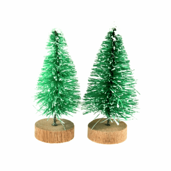 Decoration: Mini Frosted Christmas Tree: 5cm: 2 Pieces