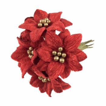 Velvet Poinsettias: 6 Stems: Red/Gold