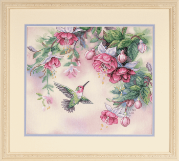 Stamped Cross Stitch Kit: Hummingbird & Fuchsias