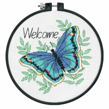 Learn-a-Craft: Counted Cross Stitch Kit with Hoop: Welcome Butterfly