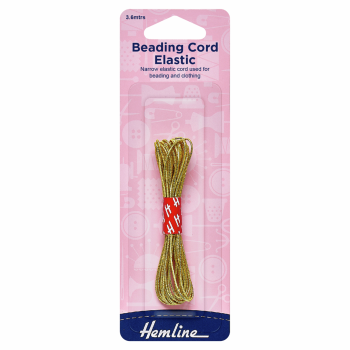 Beading Cord Elastic: 3.6m x 1.3mm: Gold
