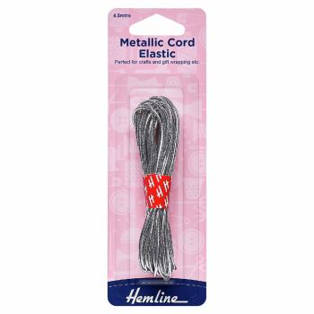 Metallic Cord Elastic: 4.5m x 1.3mm: Silver
