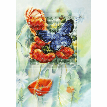 Counted Cross Stitch Kit: Greetings Card: Butterfly and Poppies