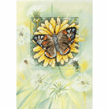 Counted Cross Stitch Kit: Greetings Card: Butterfly and Sunflower