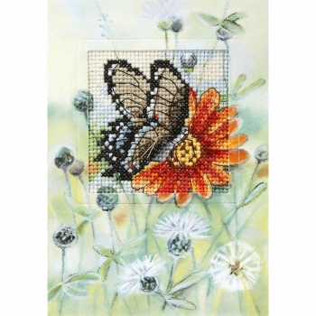 Counted Cross Stitch Kit: Greetings Card: Butterfly and Gerbera