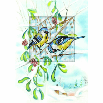 Counted Cross Stitch Kit: Greetings Card: Blue Tits