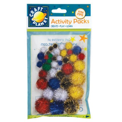 Pompoms Glitter (42pk) - Assorted Colours