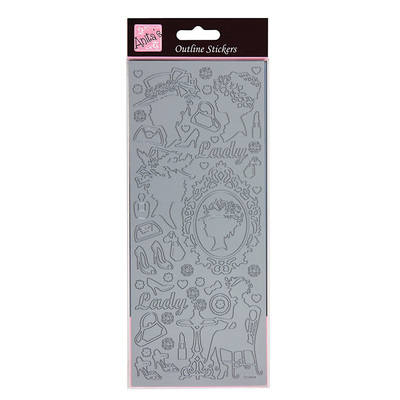 Outline Stickers - Classic Cameos - Silver