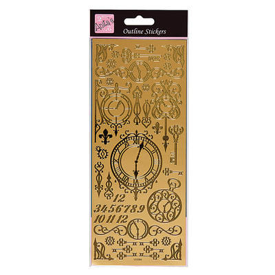 Outline Stickers - Antique Clocks & Keys - Gold