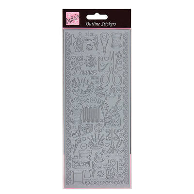 Outline Stickers - Sew Retro - Silver
