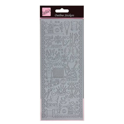 Outline Stickers - Sew Retro - Silver