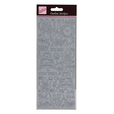 Outline Stickers - Alice In Wonderland - Silver