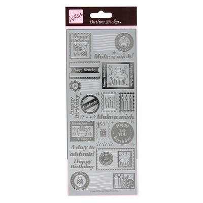 Outline Stickers - Birthday Stamps - Silver