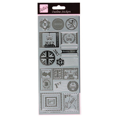 Outline Stickers - Postage Stamps - Silver