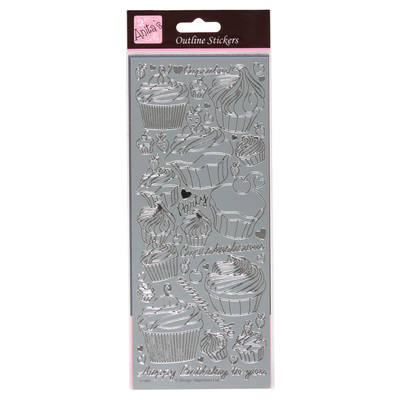Outline Stickers - Cupcakes - Silver
