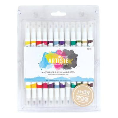 Dual Tip Brush Pens Markers (12pcs) - Vintage