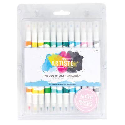 Dual Tip Brush Pens Markers (12pcs) - Pastel