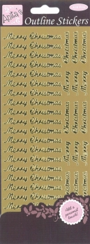 Outline Stickers - Merry Christmas - Gold