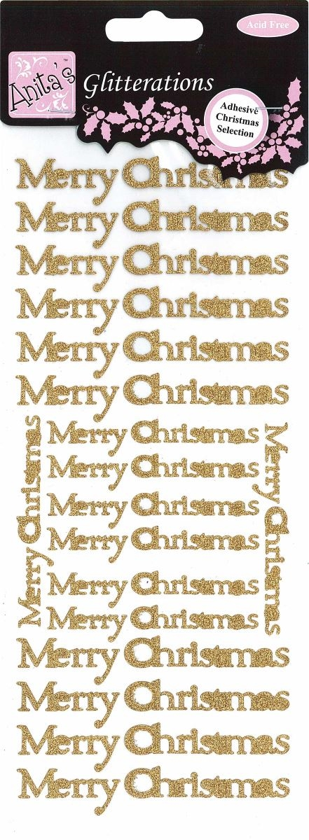 Outline Stickers - Merry Christmas - Glitterations gold