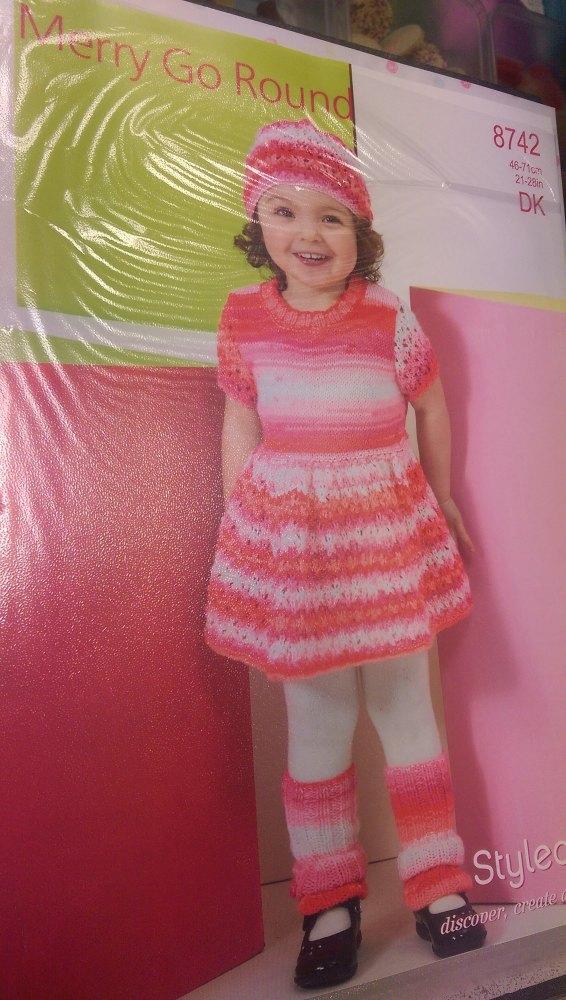 8742- Dress & Hat - Merry Go Round DK *knitting Pattern