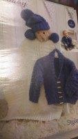 4854 - Cardigan & Hat - Baby Aran *knitting Pattern