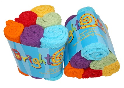 Bright Bots coloured cotton terry squares (6 pack; unisex)