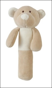 Wooly soft toy rattle (teddy)
