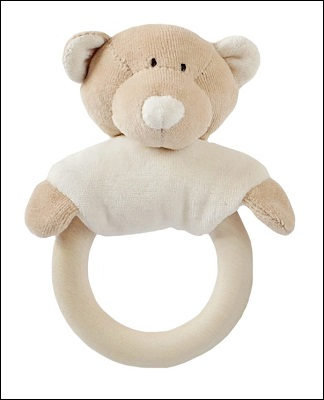 Wooly soft toy rattle with wooden teether (teddy)
