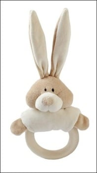 Wooly soft toy rattle with wooden teether (bunny)