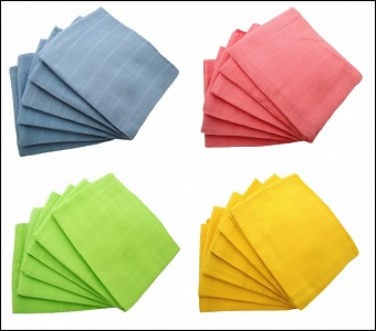 MuslinZ 6 pack coloured muslin squares