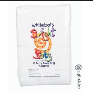 Whitebots cotton terry squares (pack of 12)