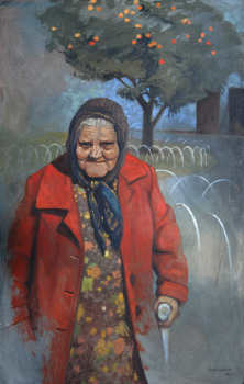 Old lady in red coat 122 x76cm