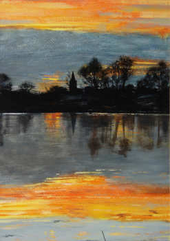 The Lake at Sunset 63.5x45.5cm