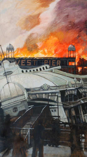 The West Pier on Fire 122 x 69cm