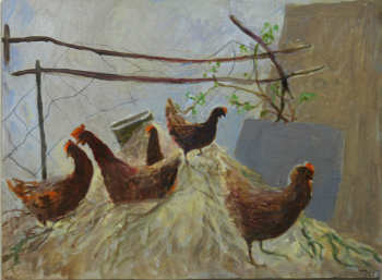 Hens on a wall Tessa Newcomb 15 x 20cm
