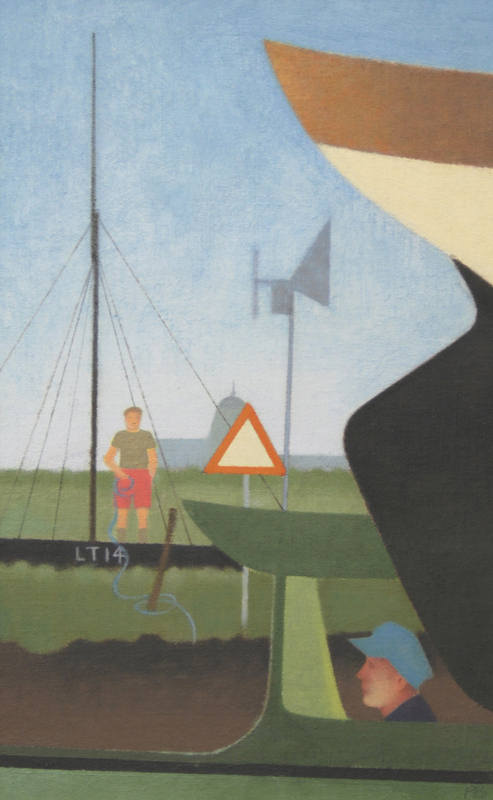 Figure with Boats  36 x 23cm