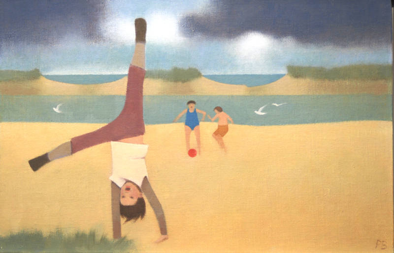 Children at Wells Beach  26 x 40cm