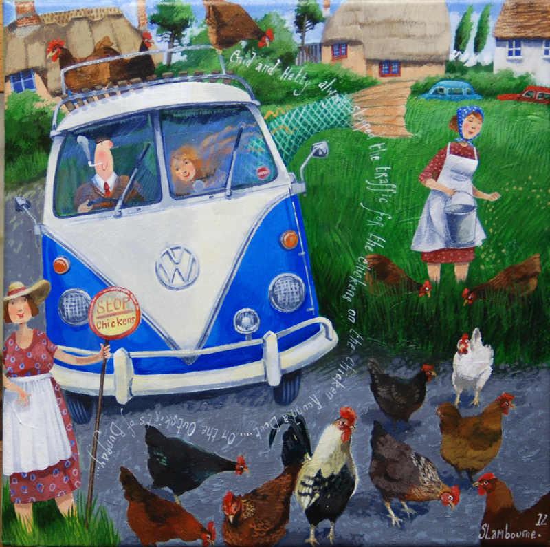 Stephanie Lambourne  Chicken Roundabout  30 x 30 cm