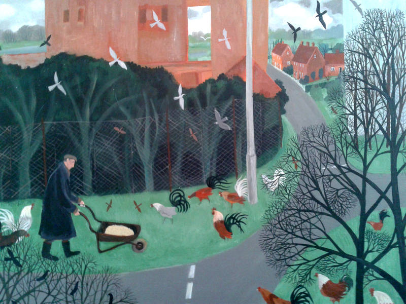 Dee Nickerson Kind Heart and Cockerels   30 x 40 cm