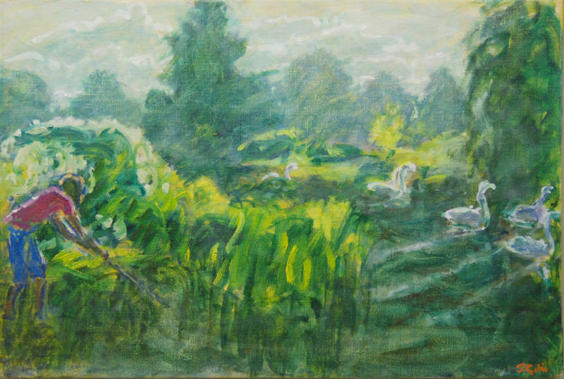 Julie Giles  Catching Tiddlers  30 x 55cm