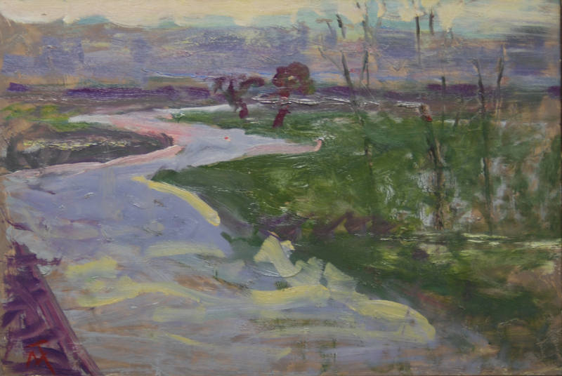 Margaret Thomas   Flooded River  30 x 30cm
