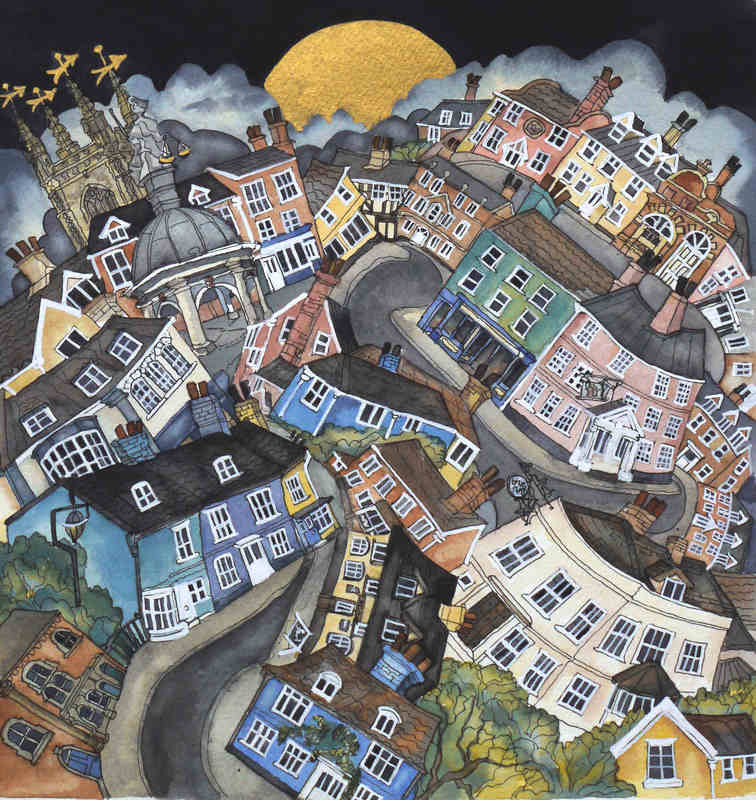 With Golden Moon came the quiet of now deserted streets of Bungay. 26 x 25c
