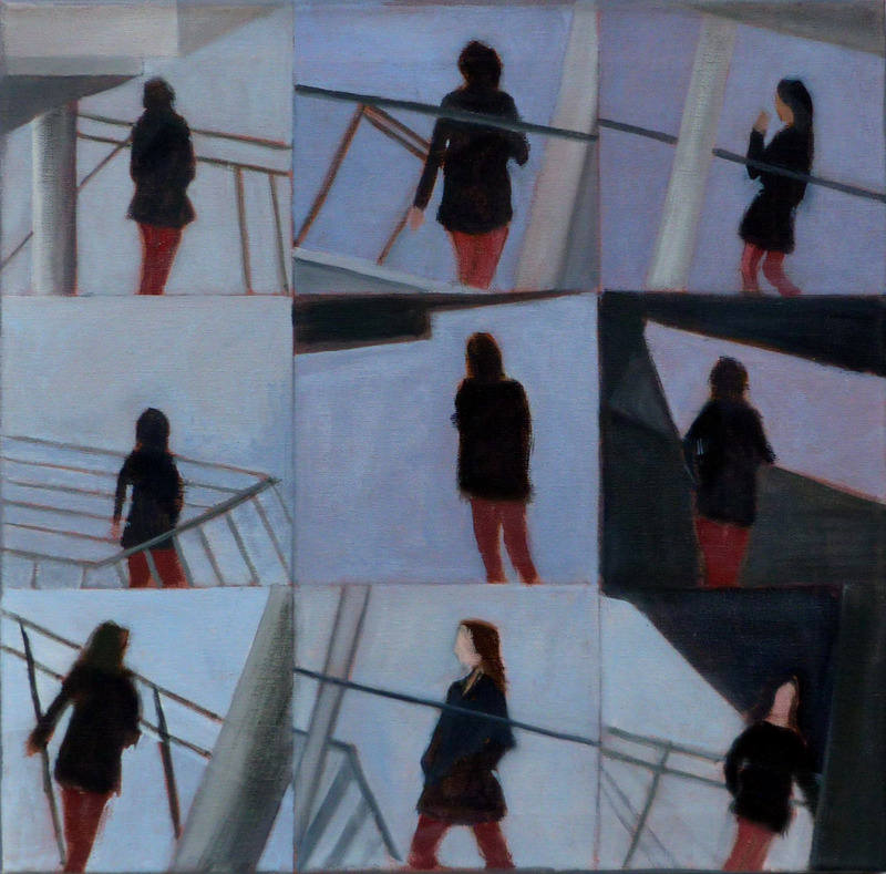 Nine fragments in the life of an unknown woman crossing a bridge oil 2012 4