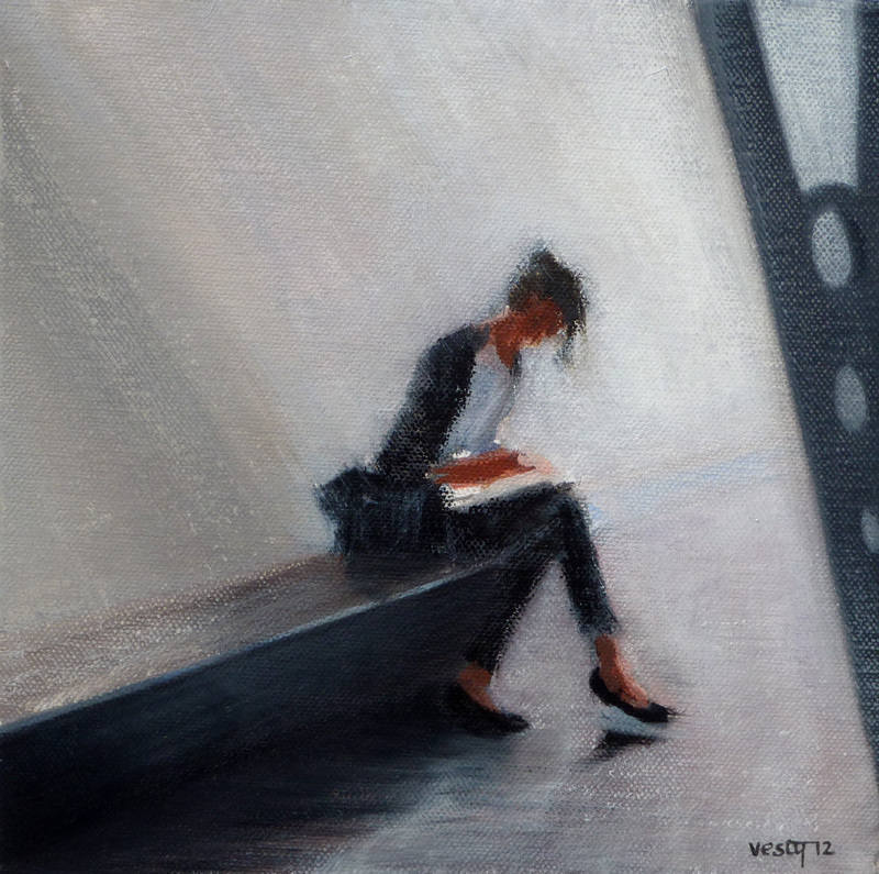 The Writer oil 20x20cm