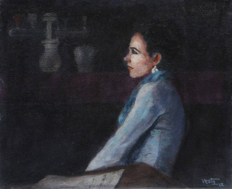 Woman in a Darkened Bar 30x25cm