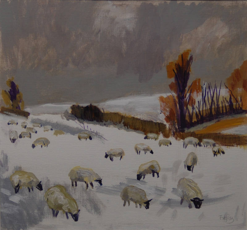 Sheep in Snow  Cornelia FitzRoy  28x30cm