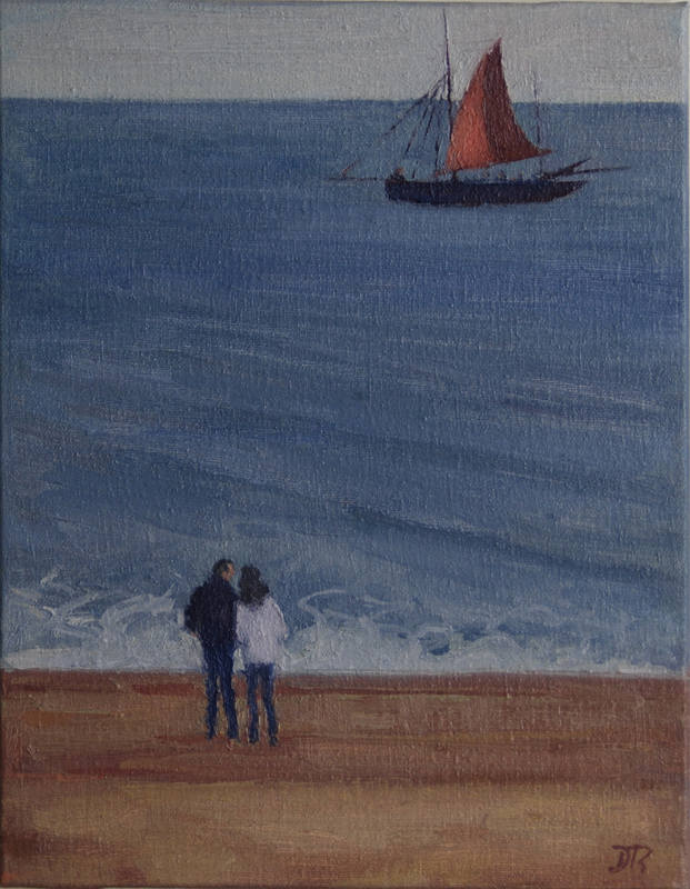 Watching theBarge Sail By 21 x 27cm