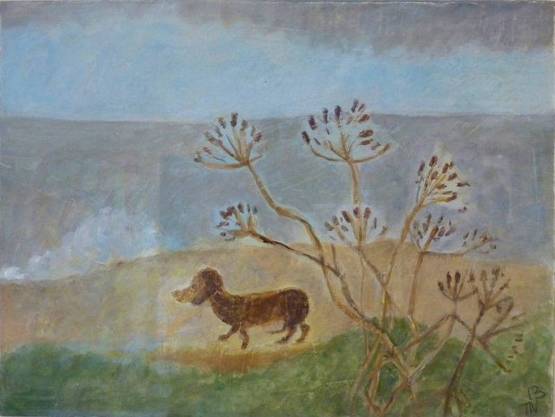 Too Windy for a little Dog 15cm x 20cm