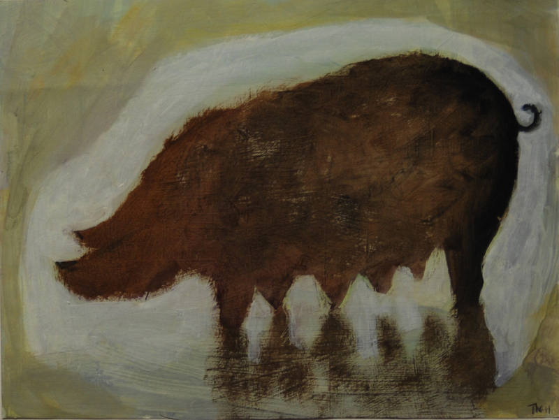 Pig in a Puddle 15 x 20cm